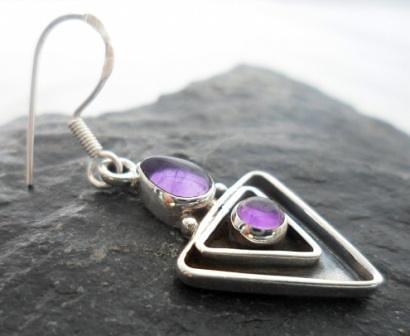 Sterling Silver Geometric Shape Amethyst Earrings