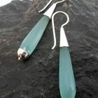 Sterling Silver Aqua Blue Chalcedony Earrings