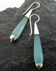 Sterling Silver Aqua Blue Chalcedony Earrings