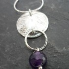 Hammered Sterling Silver Amethyst Drop Necklace