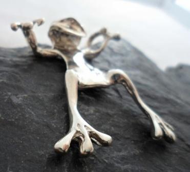 Large Sterling Silver Frog Pendant