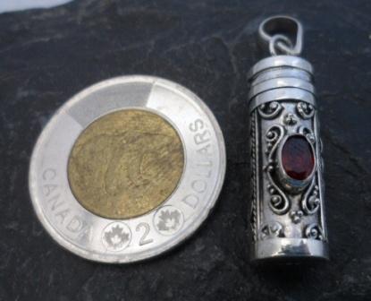 Sterling Silver Garnet Cremation Pendant