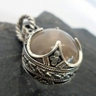 Large Sterling Silver Clear Rock Crystal Ball Pendant