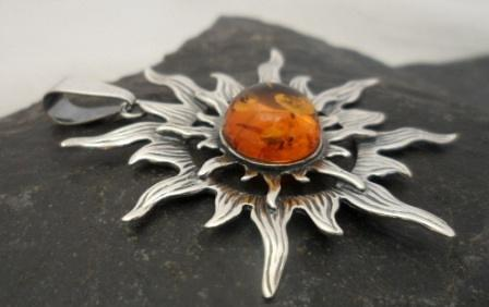 Sterling Silver Jewelry from Poland Large Sterling Silver Cognac Baltic Amber Sun Pendant