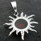 Sterling Silver Baltic Amber Sun-Moon Pendant