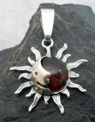 Sterling Silver Baltic Amber Sun-Man in the Moon Pendant