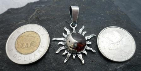 Sterling Silver Baltic Amber Sun Moon Pendant Designed in Poland