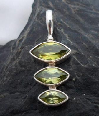 Cascading Sterling Silver Peridot Pendant