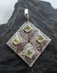 Sterling Silver Geometric Peridot Pendant