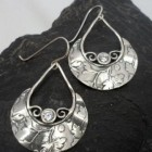 Sterling Silver Cubic Zirconia Leaf Stamped Earrings