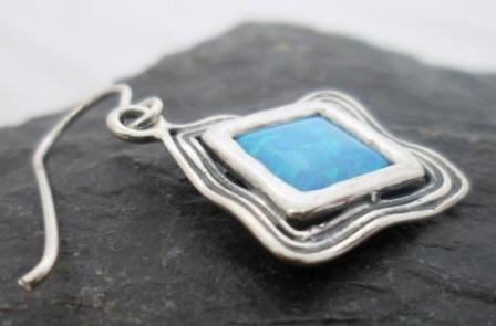 Sterling Silver Diamond Shaped Opal Earrings