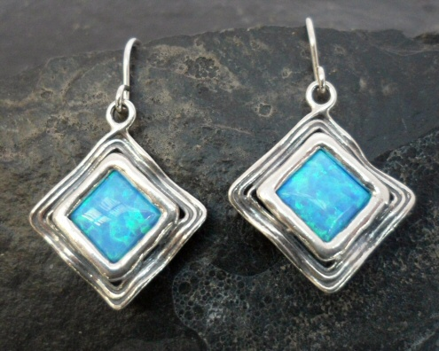 Sterling Silver Diamond Shaped Opal Earrings