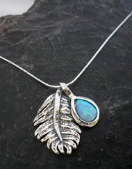 Sterling Silver Opal Feather Necklace