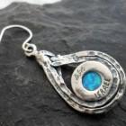 Sterling Silver Tear-drop Shaped Opal Earrings