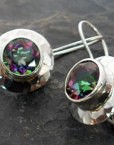 Hammered Sterling Silver Round Mystic Topaz Earrings