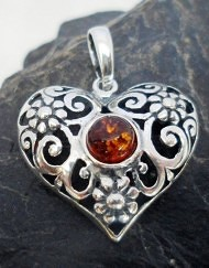 Filigree Sterling Silver Amber Heart Pendant
