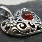 Filigree Sterling Silver Amber Heart Pendant