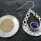 Large Sterling Silver Amethyst and Leaf Drop Earrings