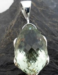 Large Sterling Silver Tear-drop Prasiolite Pendant