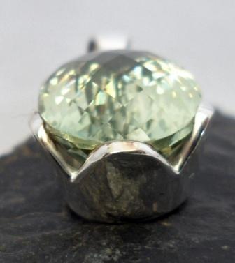 Large Sterling Silver Tear-drop Prasiolite Pendant ~Designed in India