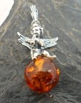 Sterling Silver Angel with Trumpet Amber Charm Pendant
