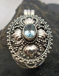 Sterling Silver Blue Topaz Locket-Memory Pendant ~Designed in Bali