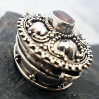 Sterling Silver Garnet Locket-Memory Pendant