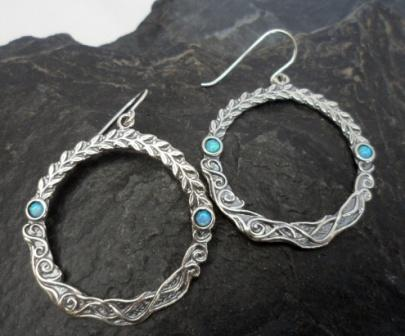 Sterling Silver Opal Embellished Wreath Earrings