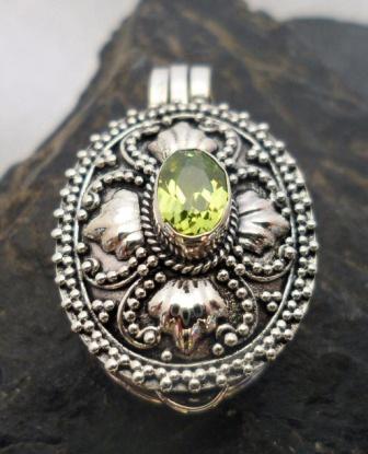 Sterling Silver Peridot Locket-Memory Pendant