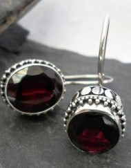 Sterling Silver Red Oval Garnet Earrings