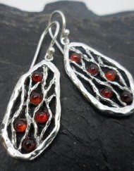Unique Sterling Silver Garnet Drop Earrings