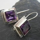 Sterling Silver Amethyst Princess Cut Earrings