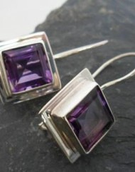 Sterling Silver Amethyst Princess Cut Earrings