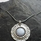 Ornate Sterling Silver Blue Lace Agate Necklace