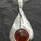 Sterling Silver Amber Drop Necklace