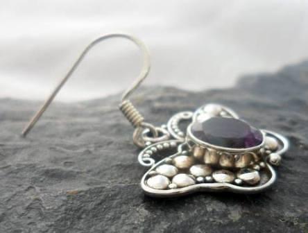 Sterling Silver Amethyst Butterfly Earrings ~Designed in Bali