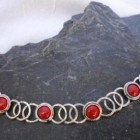 Sterling Silver Necklace with 6 Carnelian Gemstones