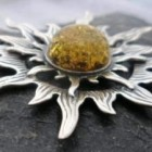 Large Sterling Silver Green Amber Sun Pendant