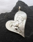 Sterling Silver Heart Jewelry Large Sterling Silver Mother of Pearl Shell Heart Pendant