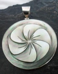 Sterling Silver Black lip Mother of Pearl Shell Pendant