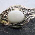 Sterling Silver White Agate Cuff Bracelet