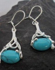 Drop Oval Filigree Turquoise Earrings