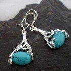Sterling Silver Drop Oval Filigree Turquoise Earrings