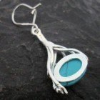Sterling Silver Drop Oval Filigree Turquoise Earrings designed in Poland