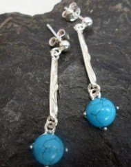 Sterling Silver Long Drop Turquoise Earrings