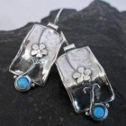 Sterling Silver Opal and Flower Earrings Designed in Israel