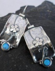 Sterling Silver Opal and Flower Earrings Designed in Israel