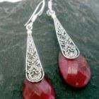 Long Sterling Silver Indian Ruby Earrings