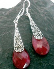 Long Sterling Silver Indian Ruby Earrings