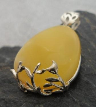 Sterling Silver Butter Amber Pendant